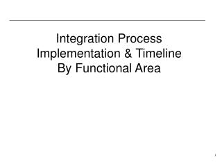 Integration Process Implementation & Timeline By Functional Area