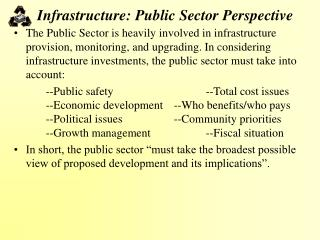 Infrastructure: Public Sector Perspective