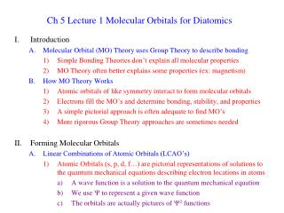 Ch 5 Lecture 1 Molecular Orbitals for Diatomics