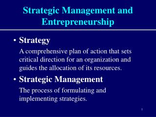 Strategic Management and Entrepreneurship