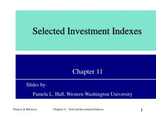 Selected Investment Indexes