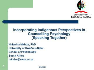 Incorporating Indigenous Perspectives in Counselling Psychology (Speaking Together)