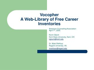 Vocopher  A Web-Library of Free Career Inventories