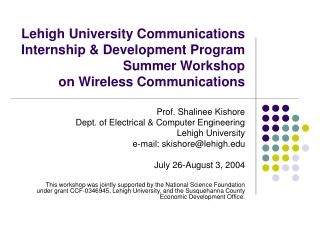 Lehigh University Communications Internship & Development Program Summer Workshop  on Wireless Communications