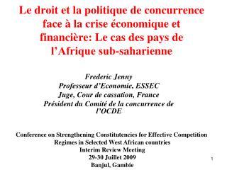Le droit et la politique de concurrence  face à la crise économique et financière: Le cas des pays de l'Afrique sub-saha