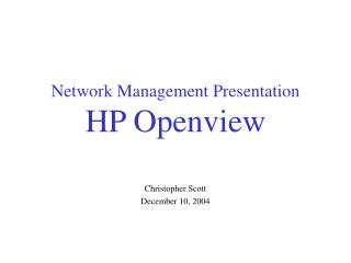 Network Management Presentation HP Openview