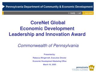 CoreNet Global  Economic Development Leadership and Innovation Award