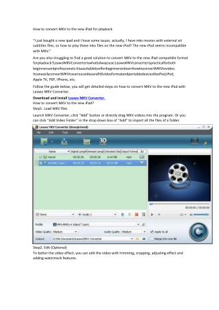 How to convert MKV to the new iPad for playback