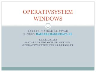 OPERATIVSYSTEM WINDOWS