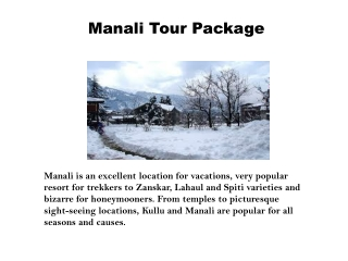 Manali Tour Packages | Manali Hotels | Manali Tour