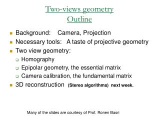 Two-views geometry Outline