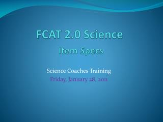 FCAT 2.0 Science Item Specs