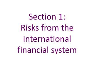 Section 1:   Risks from the international financial system