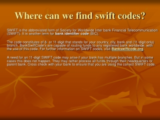 Where can we find swift codes?
