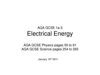 AQA GCSE 1a-3 Electrical Energy