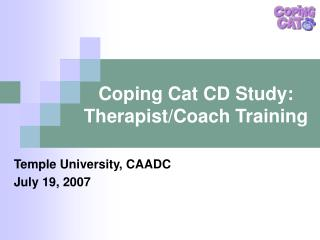 Coping Cat CD Study: Therapist/Coach Training