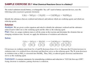 SAMPLE EXERCISE 20.1 What Chemical Reactions Occur in a Battery