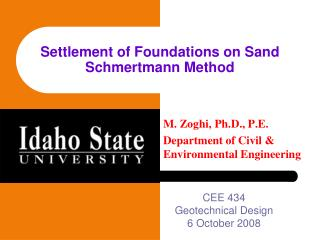Settlement of Foundations on Sand Schmertmann Method