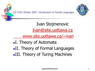 CSI 3104 /Winter 2007:  Introduction to Formal Languages