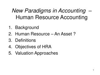 New Paradigms in Accounting   – Human Resource Accounting