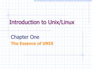 Introduction to Unix/Linux