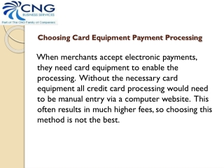 Choosing Card Equipment Payment Processing