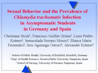 Sexual Behavior and the Prevalence of Chlamydia trachomatis Infection in Asymptomatic Students  in Germany and Spain