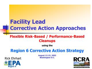 Facility Lead  Corrective Action Approaches