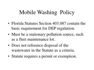 Mobile Washing  Policy