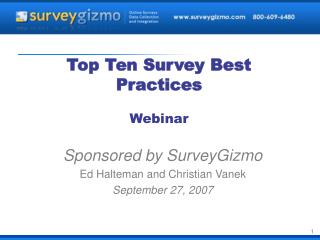 Top Ten Survey Best Practices Webinar
