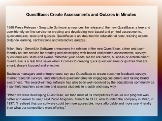 QuestBase: Create Assessments and Quizzes in Minutes