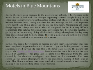 Family Friendly Motel In Blue Mountains, Redleaf Resort