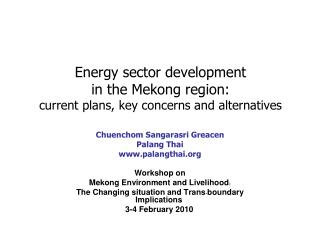 Energy sector development  in the Mekong region:  current plans, key concerns and alternatives