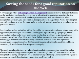 Sowing the seeds for a good reputation on the Web