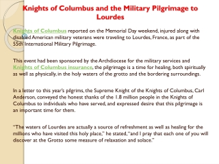 Knights of Columbus and the Military Pilgrimage to