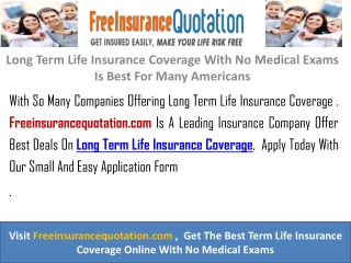 Long Term Life Insurance Coverage With No Medical Exams