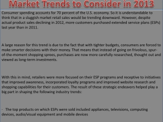 Market Trends to Consider in 2013