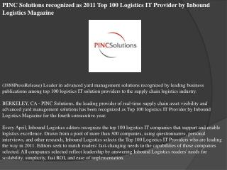 pinc solutions recognized as 2011 top 100 logistics it provi