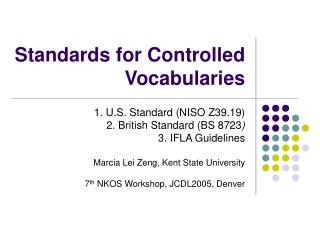 Standards for Controlled Vocabularies