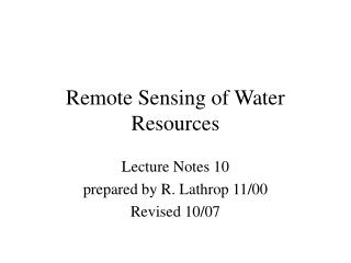 Remote Sensing of Water Resources