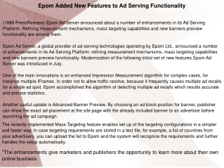 Epom Added New Features to Ad Serving Functionality