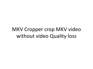 MKV Cropper crop MKV video without video Quality loss