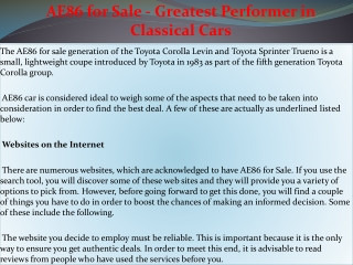 AE86 for Sale - Greatest Performer in Classical Cars