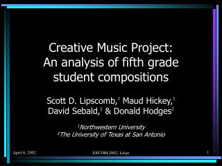 Creative Music Project: An analysis of fifth grade student compositions