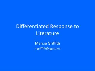 Differentiated Response to Literature