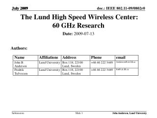 The Lund High Speed Wireless Center:   60 GHz Research