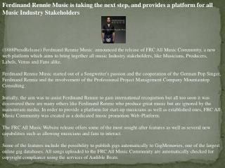 ferdinand rennie music is taking the next step, and provides