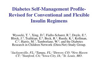 Diabetes Self-Management Profile-Revised for Conventional and Flexible Insulin Regimens