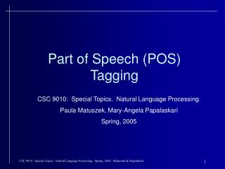 Part of Speech (POS) Tagging