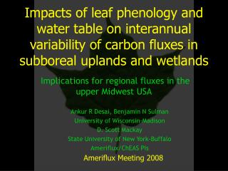 Impacts of leaf phenology and water table on interannual variability of carbon fluxes in subboreal uplands and wetlands